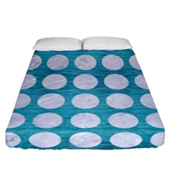Circles1 White Marble & Teal Brushed Metal Fitted Sheet (queen Size) by trendistuff