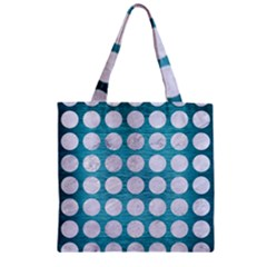 Circles1 White Marble & Teal Brushed Metal Zipper Grocery Tote Bag by trendistuff