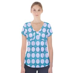 Circles1 White Marble & Teal Brushed Metal Short Sleeve Front Detail Top