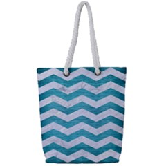 Chevron3 White Marble & Teal Brushed Metal Full Print Rope Handle Tote (small) by trendistuff