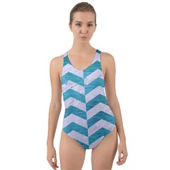 Chevron2 White Marble & Teal Brushed Metal Cut Out Back One Piece Swimsuit by trendistuff