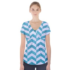 Chevron2 White Marble & Teal Brushed Metal Short Sleeve Front Detail Top