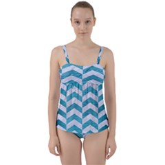 Chevron2 White Marble & Teal Brushed Metal Twist Front Tankini Set