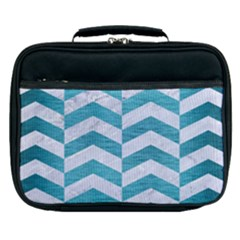 Chevron2 White Marble & Teal Brushed Metal Lunch Bag