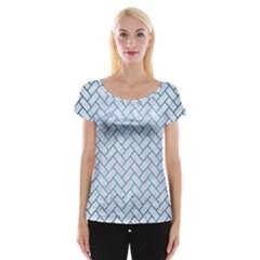 Brick2 White Marble & Teal Brushed Metal (r) Cap Sleeve Tops by trendistuff