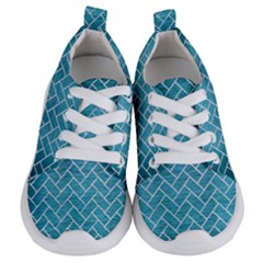 Brick2 White Marble & Teal Brushed Metal Kids  Lightweight Sports Shoes