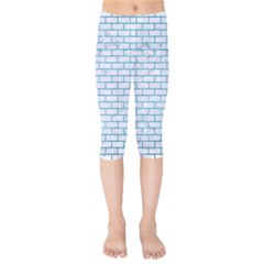Brick1 White Marble & Teal Brushed Metal (r) Kids  Capri Leggings