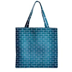 Brick1 White Marble & Teal Brushed Metal Zipper Grocery Tote Bag by trendistuff