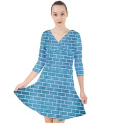 Brick1 White Marble & Teal Brushed Metal Quarter Sleeve Front Wrap Dress