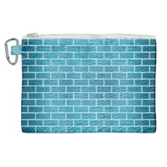 Brick1 White Marble & Teal Brushed Metal Canvas Cosmetic Bag (xl) by trendistuff