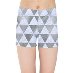 Triangle3 White Marble & Silver Paint Kids Sports Shorts