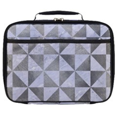 Triangle1 White Marble & Silver Paint Full Print Lunch Bag by trendistuff