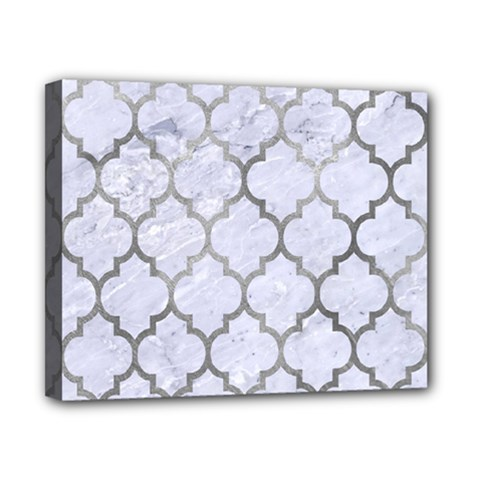 Tile1 White Marble & Silver Paint (r) Canvas 10  X 8  by trendistuff