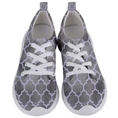 Tile1 White Marble & Silver Paint Women s Lightweight Sports Shoes