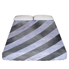Stripes3 White Marble & Silver Paint (r) Fitted Sheet (queen Size) by trendistuff