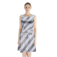 Stripes3 White Marble & Silver Paint (r) Sleeveless Waist Tie Chiffon Dress