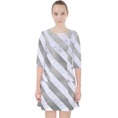 Stripes3 White Marble & Silver Paint Pocket Dress