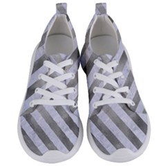 Stripes3 White Marble & Silver Paint Women s Lightweight Sports Shoes