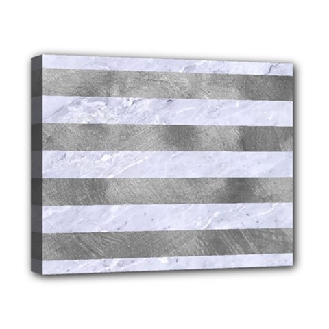 Stripes2white Marble & Silver Paint Canvas 10  X 8  by trendistuff