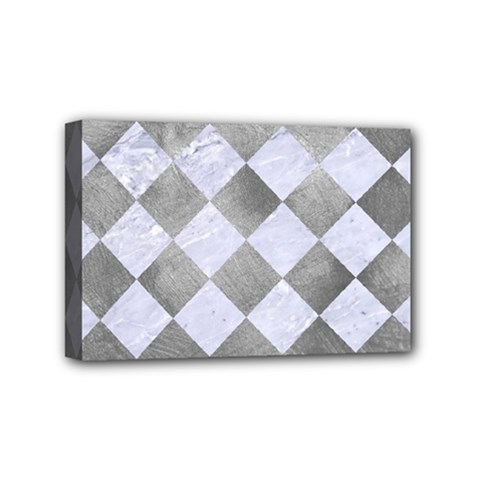 Square2 White Marble & Silver Paint Mini Canvas 6  X 4  by trendistuff
