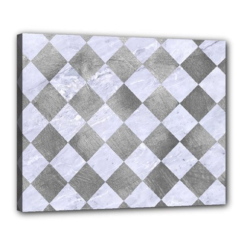 Square2 White Marble & Silver Paint Canvas 20  X 16  by trendistuff