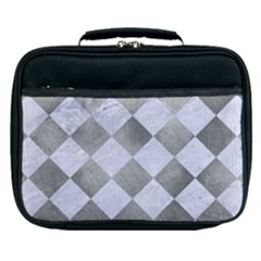Square2 White Marble & Silver Paint Lunch Bag