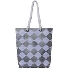 Square2 White Marble & Silver Paint Full Print Rope Handle Tote (small) by trendistuff