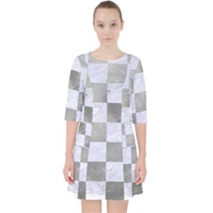 Square1 White Marble & Silver Paint Pocket Dress