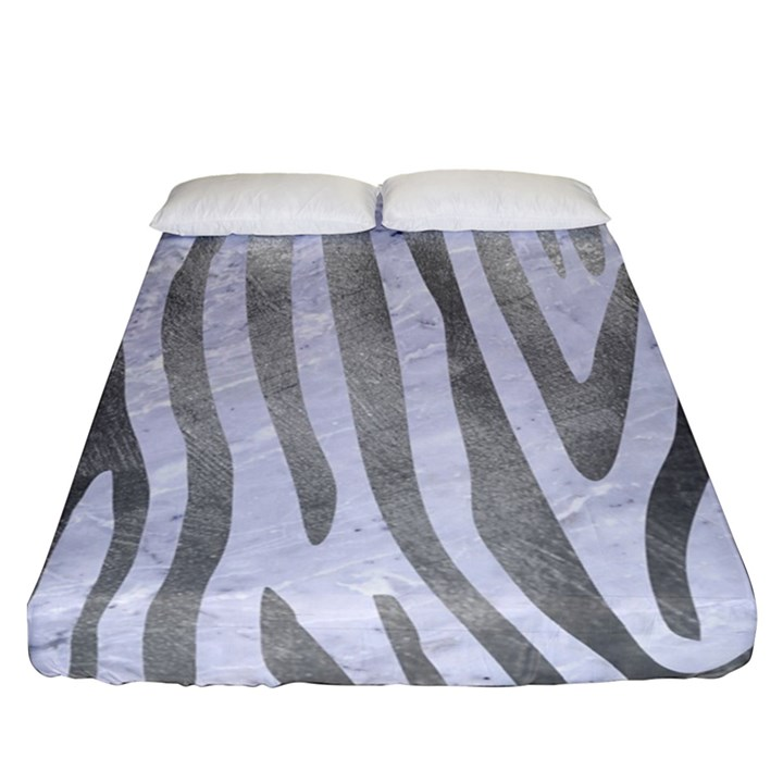SKIN4 WHITE MARBLE & SILVER PAINT Fitted Sheet (Queen Size)