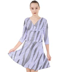 Skin3 White Marble & Silver Paint (r) Quarter Sleeve Front Wrap Dress