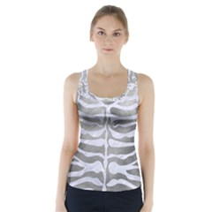 Skin2 White Marble & Silver Paint Racer Back Sports Top