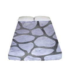 Skin1 White Marble & Silver Paint Fitted Sheet (full/ Double Size) by trendistuff