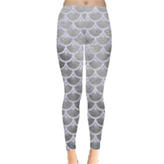 Scales3 White Marble & Silver Paint Leggings  by trendistuff