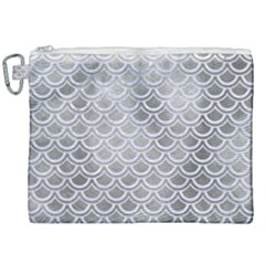 Scales2 White Marble & Silver Paint Canvas Cosmetic Bag (xxl) by trendistuff