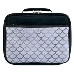 Scales1 White Marble & Silver Paint (r) Lunch Bag