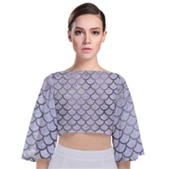 Scales1 White Marble & Silver Paint (r) Tie Back Butterfly Sleeve Chiffon Top