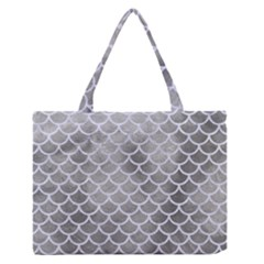 Scales1 White Marble & Silver Paint Zipper Medium Tote Bag