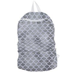 Scales1 White Marble & Silver Paint Foldable Lightweight Backpack