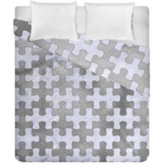 Puzzle1 White Marble & Silver Paint Duvet Cover Double Side (california King Size) by trendistuff