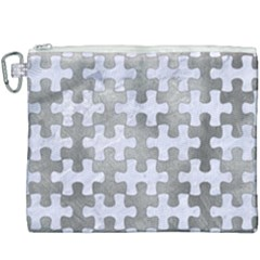 Puzzle1 White Marble & Silver Paint Canvas Cosmetic Bag (xxxl) by trendistuff