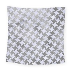 Houndstooth2 White Marble & Silver Paint Square Tapestry (large) by trendistuff