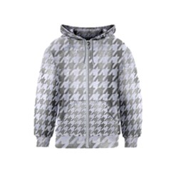 Houndstooth1 White Marble & Silver Paint Kids  Zipper Hoodie