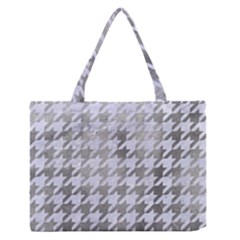 Houndstooth1 White Marble & Silver Paint Zipper Medium Tote Bag