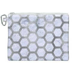 Hexagon2 White Marble & Silver Paint (r) Canvas Cosmetic Bag (xxl) by trendistuff