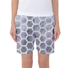 Hexagon2 White Marble & Silver Paint Women s Basketball Shorts