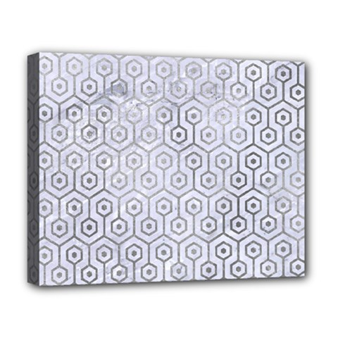 Hexagon1 White Marble & Silver Paint (r) Deluxe Canvas 20  X 16   by trendistuff