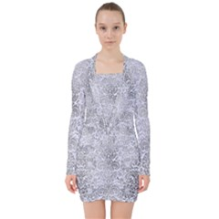 Damask2 White Marble & Silver Paint (r) V Neck Bodycon Long Sleeve Dress