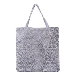 Damask2 White Marble & Silver Paint Grocery Tote Bag