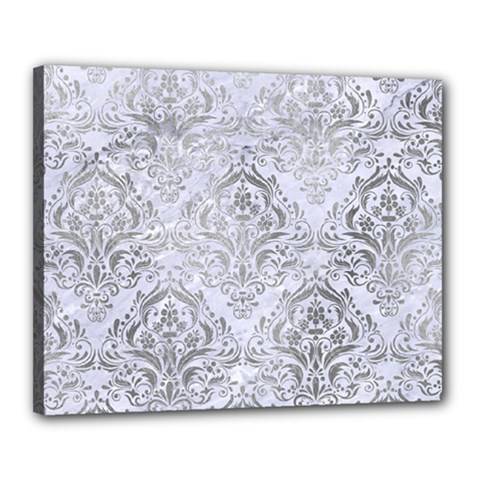 Damask1 White Marble & Silver Paint (r) Canvas 20  X 16  by trendistuff