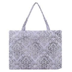 Damask1 White Marble & Silver Paint (r) Zipper Medium Tote Bag